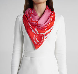 Queen Foulard Rouge and Rose on model womens scarves