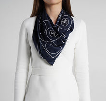 Load image into Gallery viewer, Sesam Motif Navy Silk Scarf on model womens scarves