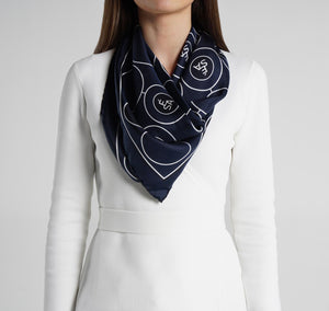 Sesam Motif Navy Silk Scarf on model womens scarves
