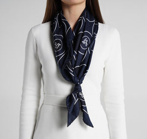 Sesam Motif Navy Silk Scarf on model