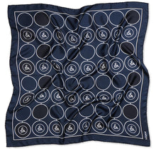 Load image into Gallery viewer, Sesam Motif Navy Womens Square Silk Twill Scarves