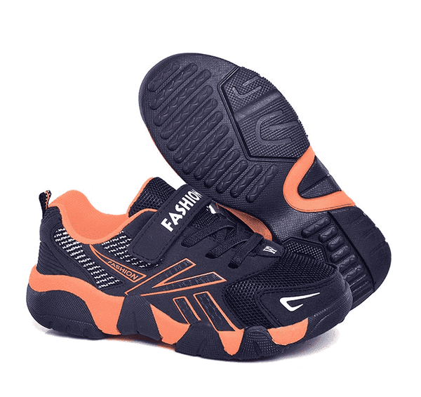 Black and orange trainers