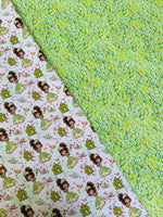 Fairytale Princess with a  Frog 200 CL knit , 260 gsm, 1 yard