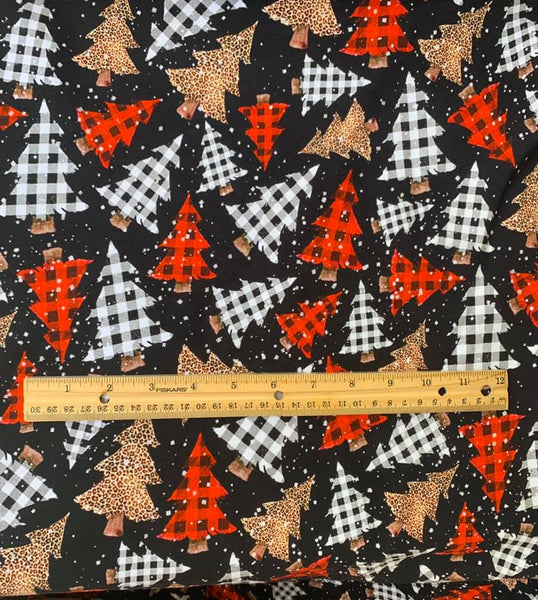 Christmas trees on black 1 yard CL knit 260 gsm will ship Nov 25