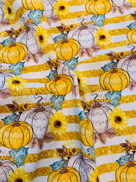 Pumpkins on yellow stripes Collection 003 1 yard CL knit 260 gsm
