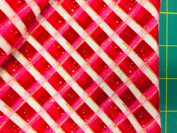 "Small Scale 1/2"" Red Christmas Plaid Glitter 1 yard CL knit 260 gsm in stock"