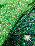 Green Christmas glitter 1 yard CL knit 260 gsm