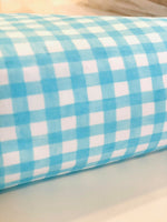 Aqua white Gingham Watercolor 1 yard CL knit 260 gsm in stock