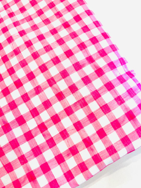 Pink Gingham Watercolor 1 yard CL knit 260 gsm in stock