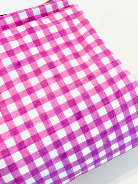 Light purple gingham, 260 gsm, 1 yard, in stock
