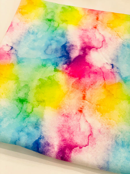 Rainbow watercolor 1 yard CL knit 260 gsm