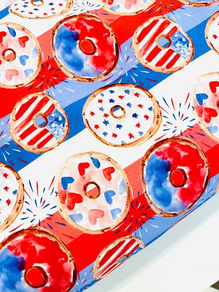 Patriotic 4th of July Donuts on white background 1 yard CL knit 260 gsm
