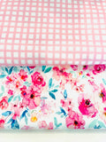 Light pink gingham 1 yard CL knit 260 gsm in stock