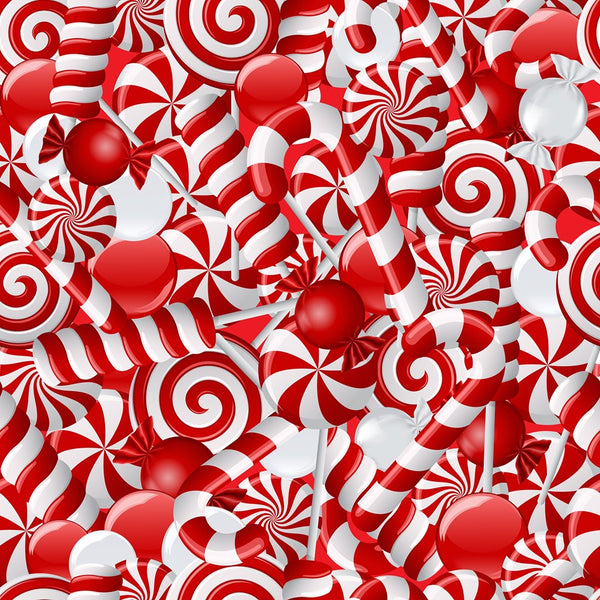 Candy canes Peppermints CL knit 1 yard