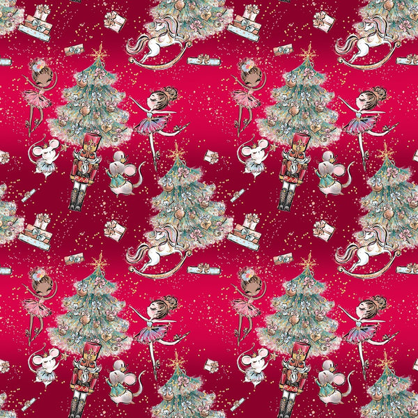 Nutcracker on red 1 yard CL knit