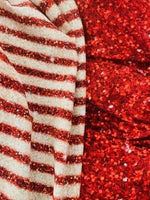 "4th of July Patriotic glitter stripes 1/2"" wide CL knit , 260 gsm, 1 yard"