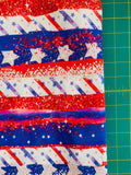 4th of July stripes and stars brush strokes CL knit , 260 gsm, 1 yard,
