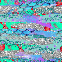 Little Mermaid brush strokes 1 yard CL knit 260 gsm