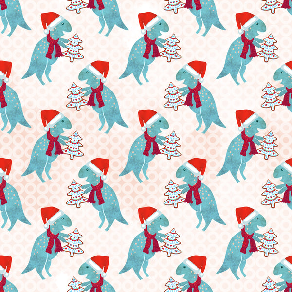 Christmas Dinos 04 CL knit , 260 gsm, 1 yard