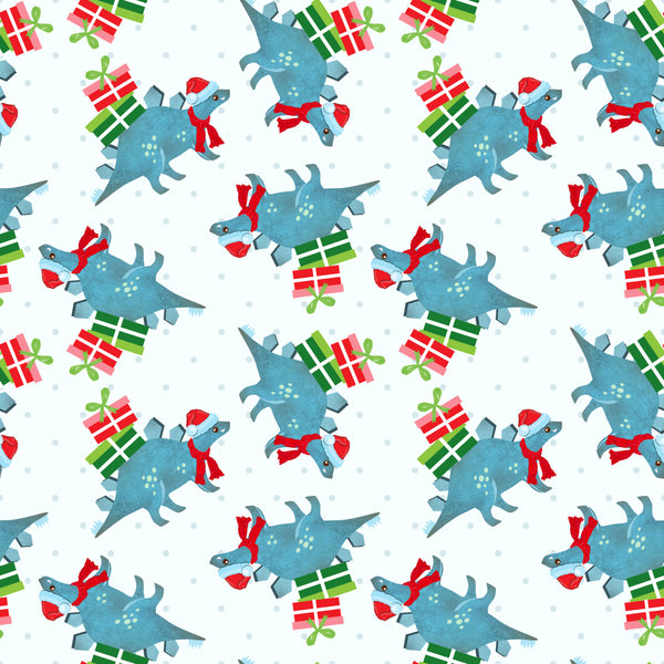 Christmas Dinos 06 CL knit , 260 gsm, 1 yard