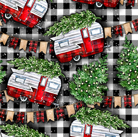 Christmas Campers 1 yard CL knit 260 gsm