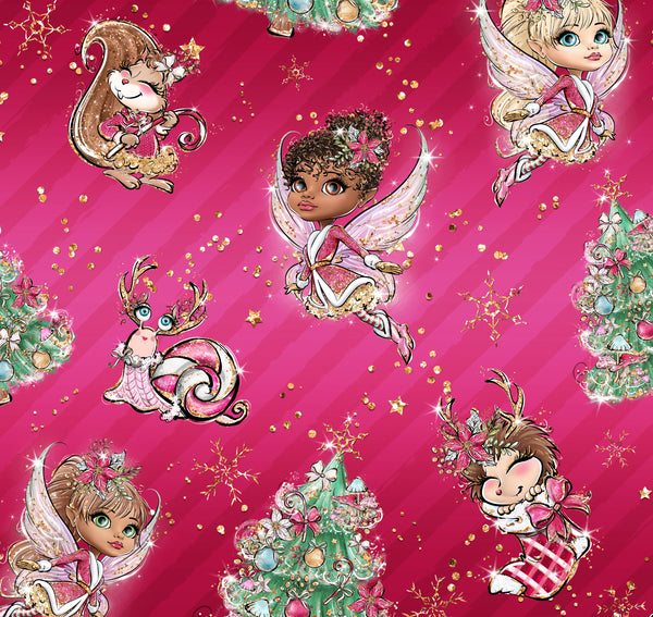 Christmas Fairies  1 yard CL knit 260 gsm will ship Sept 20
