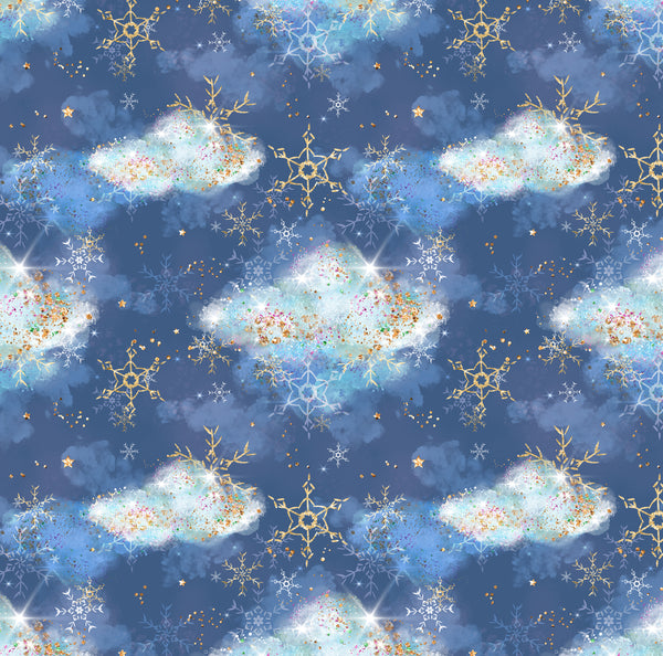 Snowflakes and clouds 1 yard CL knit 260 gsm