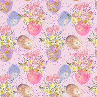 Easter eggs on pink 1 yard CL knit 260 gsm in stock