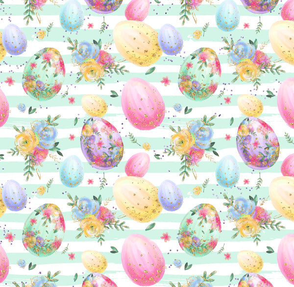 Easter eggs on light green stripes 1 yard CL knit 260 gsm in stock