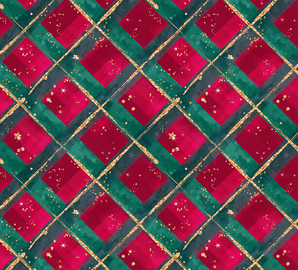 Christmas Plaid Glitter 1 yard CL knit 260 gsm in stock