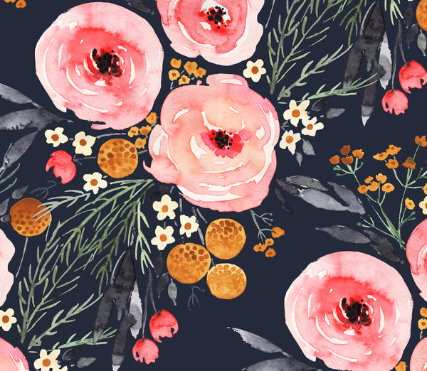 Mountain navy BOHO Watercolor  Floral  1 yard CL knit 260 gsm