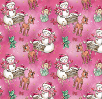 Pink Rudolph and snowman 1 yard CL knit 260 gsm