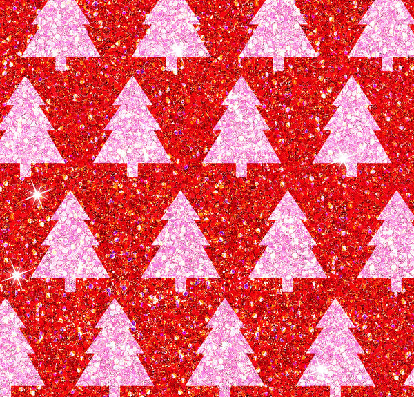 Christmas Trees Red and pink 1 yard CL knit 260 gsm