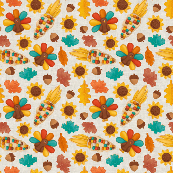 Thanksgiving cookie 001 CL knit , 260 gsm, 1 yard pre order ETA Oct 10-16