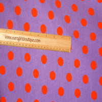 Knit Violet with Orange Dots Halloween dots