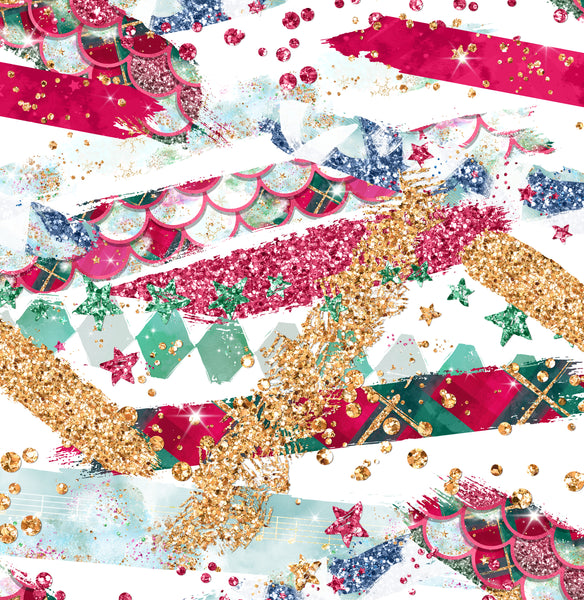 Christmas Brush strokes 1 yard CL knit 260 gsm in stock