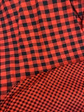 "Red and Black Euro Oeko-Tex Black 1"" Buffalo Plaid Knit"