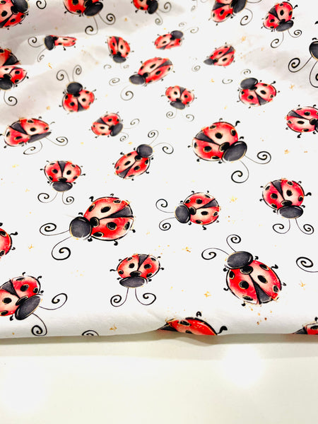 Ladybug on white background 1 yard CL knit 260 gsm