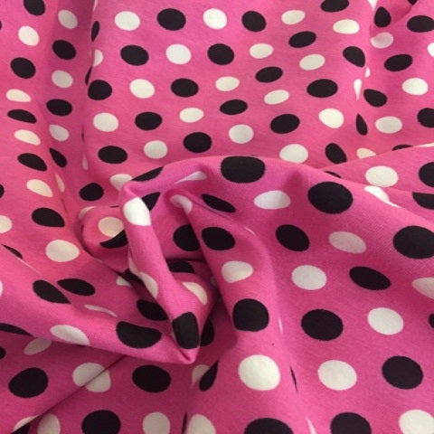 Pink with black and white dots CL US knit 1 yard