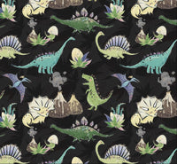 Cute Dinos on black background 1 yard CL knit 260 gsm