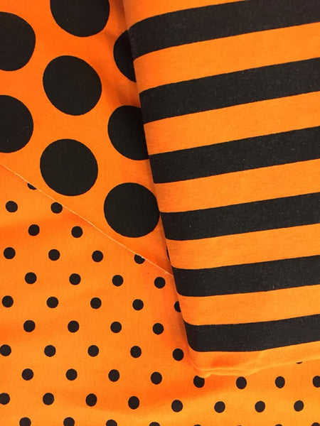 Orange dots big and small with matching stripes
