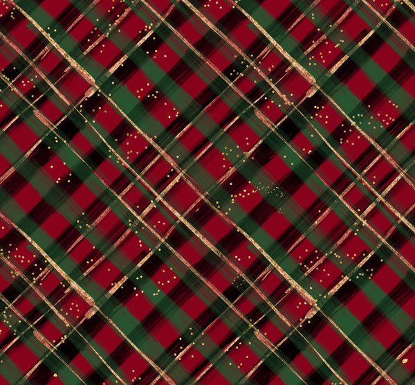 Red Christmas plaid 1 yard CL knit 260 gsm