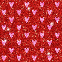 Glitter red pink hearts 003 CL knit , 260 gsm, 1 yard in stock