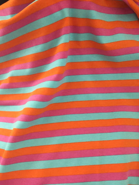 Pink orange aqua stripes CL knit 1 yard