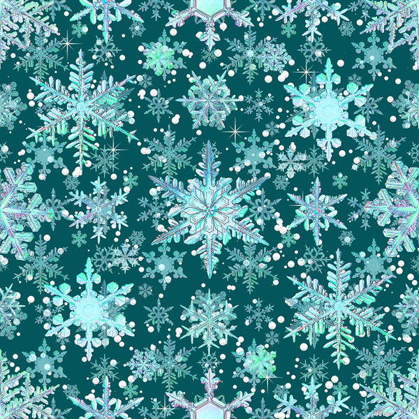 Teal Snowflakes 0021  1 yard CL knit 260 gsm in stock