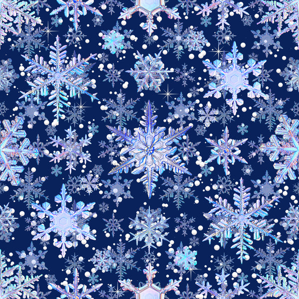 Snowflakes  Blue 0022  1 yard CL knit 260 gsm in stock
