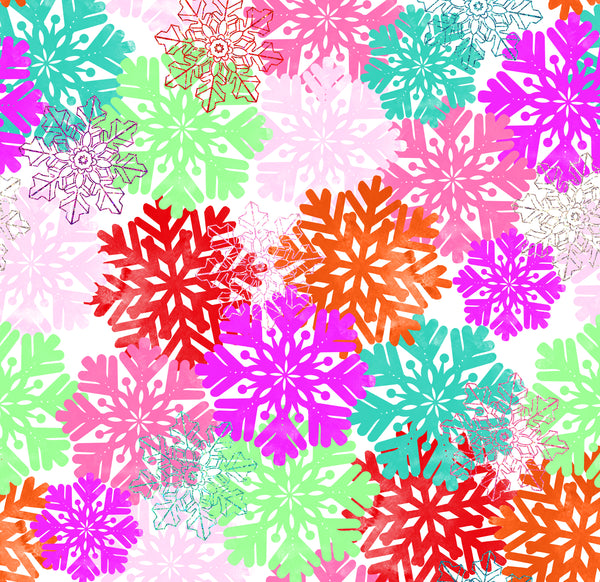 Snowflakes Rainbow 1 yard CL knit 260 gsm