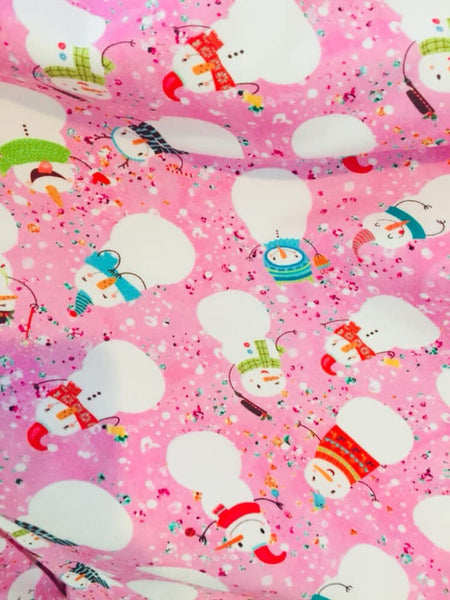 Snowmen on pink 1 yard CL knit