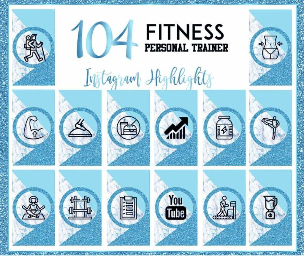 104 Fitness Blue Glitter Marble   Instagram Story Highlight Covers  Templates   Digital Download JPEG  