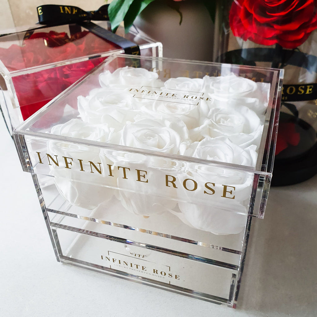 Infinite Rose | Small Acrylic Box with Drawer in White | Real Roses That Last A Year